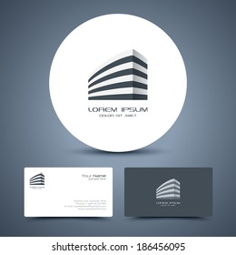 Vector business card template with universal business or building icon logo.