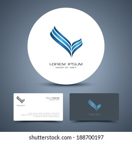 Vector business card template with universal icon logo.