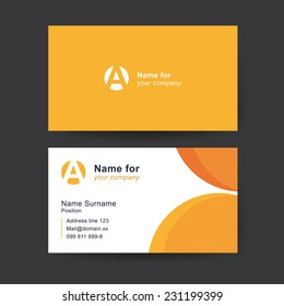 Vector business card template. Universal solid business card with place for your text.