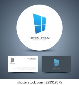 Vector business card template with window logo.