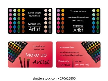 Vector business cards for professional make up artists. Two different scalable designs. Text not editable (Only for position).
