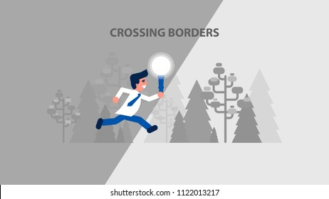 Vector business challenge illustration businessman manager crossing borders hold torch illuminate path to goal dream going beyond clarifies strategy development flat style motion design divided layers