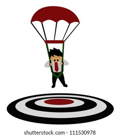 Vector - Business concept.He focused on a target with parachute.