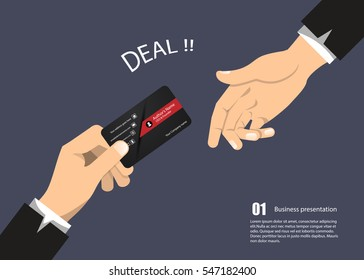 Vector Business Concept give business card contact for company connection