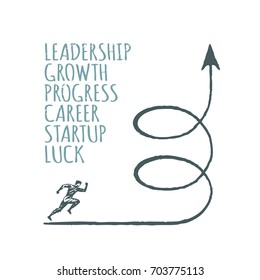 Vector business concept hand drawn sketch. Lettering leadership, growth, progress, career, startup, luck.