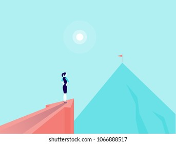 Vector business concept illustration with businesslady standing on big arrow pointing on mountain peak. Office woman watching at new top. New aim, goal, purposes, achievements, aspirations - metaphor.