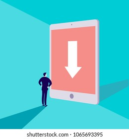 Vector business concept illustration with businessman standing in front of big tablet with arrow on its screen on blue background. Destination sign, achievement, web surf, internet searching metaphor.