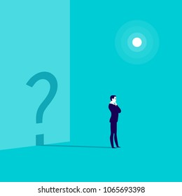 Vector business concept illustration with businessman standing isolated with question sign shadow shape on the wall behind. Thinking, work pause, inspiration, looking for destination - metaphor.
