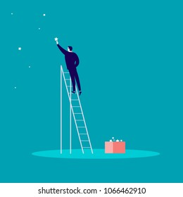 Vector business concept illustration with businessman standing on stairs and reaching star on the sky. Blue background. Reach your dream, aspirations and solutions - metaphor.
