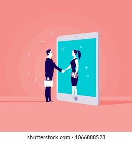 Vector business concept illustration with businessman & lady shaking hands, girl standing in tablet screen. Metaphor for cooperation, partnership, collaboration, web communication & online consulting.