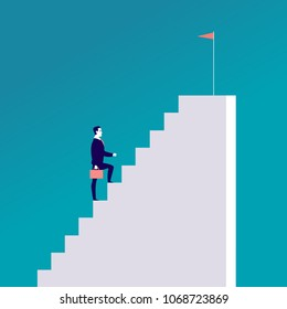 Vector business concept illustration with businessman walking up the stairs with flag on it isolated on blue background. Career, aspirations, reaching aims, motivation, growth, leadership - metaphors.