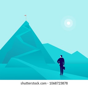 Vector business concept illustration with businessman standing at mountain peak and watching on top. Metaphor for new aims and goals, purposes, achievements and aspirations, motivation.
