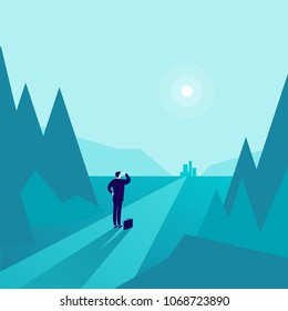 Vector business concept illustration with businessman standing at forest edge and watching on horizon city. Metaphor for new aims, goals, purpose, achievements and aspirations, motivation, overcoming.
