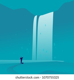 Vector business concept illustration with businessman standing & watching at big great waterfall with money signs & symbols on blue background. Wealth, success, winning, aspirations, finance abundance