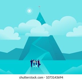 Vector business concept illustration with businessmen, women standing in front of mountain pic & watching on top. Metaphor for growth, new aim & goal, team work & partnership, aspiration, motivation.