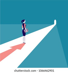 Vector business concept illustration with businesswoman  standing in door light with arrow shadow. Metaphor for aspirations, solution, career perspective, purposes, new goals and aims, motivation.