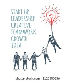 Vector business concept illustration, hand drawn sketch. Start up, leadership, creative, teamwork, growth, idea.