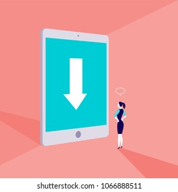 Vector business concept illustration with business lady standing in front of big tablet with arrow on its screen. Destination sign, achievement, web surf, internet searching metaphor.