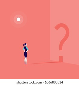 Vector business concept illustration with business lady standing isolated with question sign shadow shape on the wall. Thinking, work pause, inspiration, looking for destination, searching - metaphor.