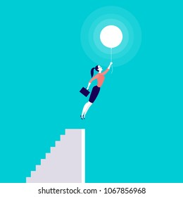 Vector business concept illustration with business lady flying up with air balloon from stairs isolated on blue background. Success, growth, career, achievement, solution, idea aspirations metaphor.