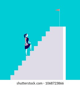 Vector business concept illustration with business lady  walking up the stairs with flag on it isolated on blue background. Career, aspiration, reaching aim, motivation, growth, leadership - metaphor.