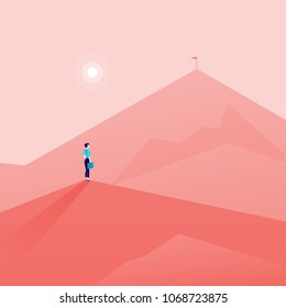 Vector business concept illustration with business lady standing on mountain peak and watching at new top. Metaphor for new aims and goals, purposes, achievements and aspirations, motivation.