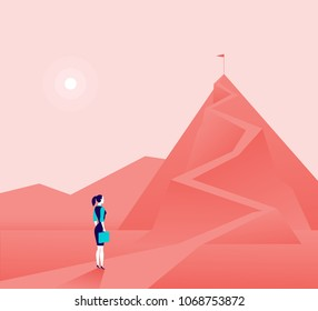Vector business concept illustration with business lady  standing at mountain peak and watching on top. Metaphor for new aims and goals, purposes, achievements and aspirations, motivation.