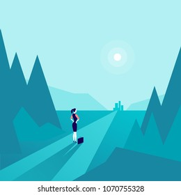Vector business concept illustration with business lady standing at forest edge & watching on horizon city. Metaphor for new aims, goals, purpose, achievements and aspirations, motivation, overcoming.