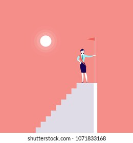 Vector business concept illustration with business lady standing on top of stairs with flag isolated on pink background. Career, reaching aim, motivation, growth, leadership, achievement - metaphor.