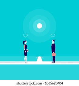 Vector business concept illustration with office man and lady standing in front of each other on roads connecting. Metaphor for collaboration, partnership, team building, cooperation, work together.