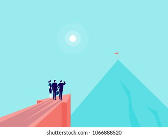 Vector business concept illustration with business people standing on big arrow pointing on mountain peak. Office people watching at new top. New aim, team work, achievements, partnership - metaphor.