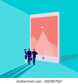 Vector business concept illustration with business people watching on mountain peak on big tablet screen on blue background. Partnership, online business, aspirations, cooperation, team work metaphor.