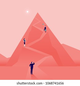 Vector business concept illustration with business people climbing mountain road up. Flat style. Career, leadership, growth, new goals, aspirations, move up, follow your dreams - metaphor.