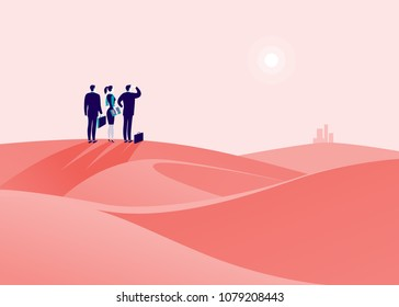 Vector business concept illustration with business people standing at desert hill & watching on horizon city. Metaphor for new aims, goal, purpose, achievements and aspirations, motivation, overcoming