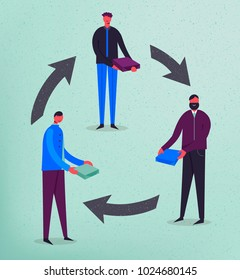 Vector business concept illustration. Stylized characters. Product exchange. Men holding boxes