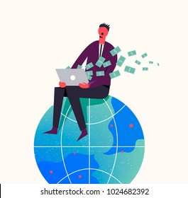 Vector business concept illustration. Stylized character sitiing on the globe. Earning money in the internet, freelance, business online. Man getting money from the computer