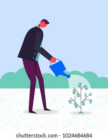 Vector business concept illustration. Stylized character watering money tree. Making money, growing finances, start up.