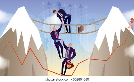 Vector Business concept illustration Take your business out of crisis Business person help each other in the mountain team work