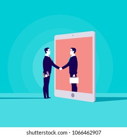 Vector business concept illustration with two businessmen shaking hands, one standing in tablet screen. Metaphor for cooperation, partnership, collaboration, web communication and online consulting.