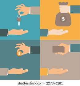 Vector business concepts in flat style - hands giving and receiving earnings, charity, keys and card - exchange and barter