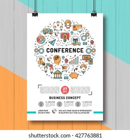 Vector business conference poster templates A4 size.