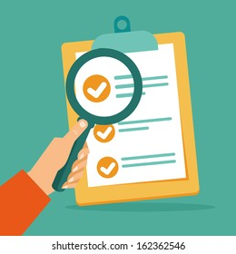 Vector business contract and magnifier - analyzing document - concept in flat style