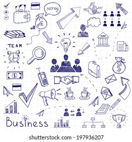 Vector business doodles seamless pattern background with diagrams, humans and ideas bulbs