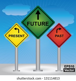 Vector : Business and Finance Concept Present By Rhombus Yellow, Green and Red Street Sign Pointing to Present, Future and Past in Blue Sky Background