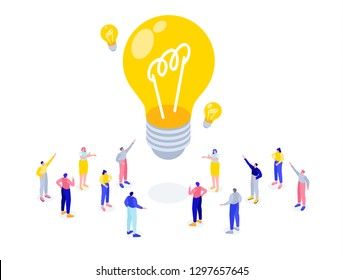 Vector business flat isometric illustration. tiny people are standing in a group and developing an idea. teamwork brainstorming. light bulb as an idea metaphor