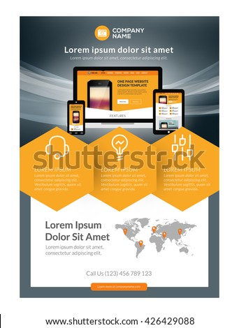 Vector business flyer design template mobile stock vector royalty vector business flyer design template for mobile application or new smartphone vector brochure design layout cheaphphosting Gallery