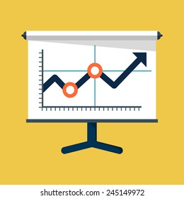 Vector Business Growing Chart Presentation Icon