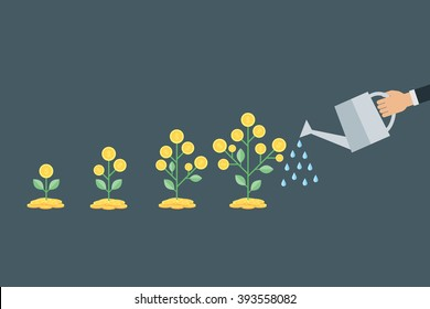 Vector business growth concept. ,hand with can watering money tree