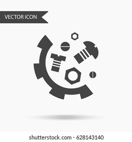 Vector business icon gears nuts and bolts. Icon for for annual reports, charts, presentations, workflow layout, banner, number options, step up options, web design. Contemporary flat design.