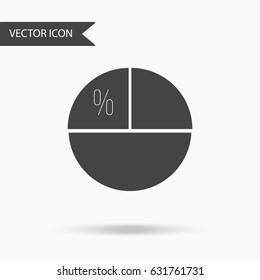Vector business icon pie chart. Icon for for annual reports, charts, presentations, workflow layout, banner, number options, step up options, web design. Contemporary flat design.